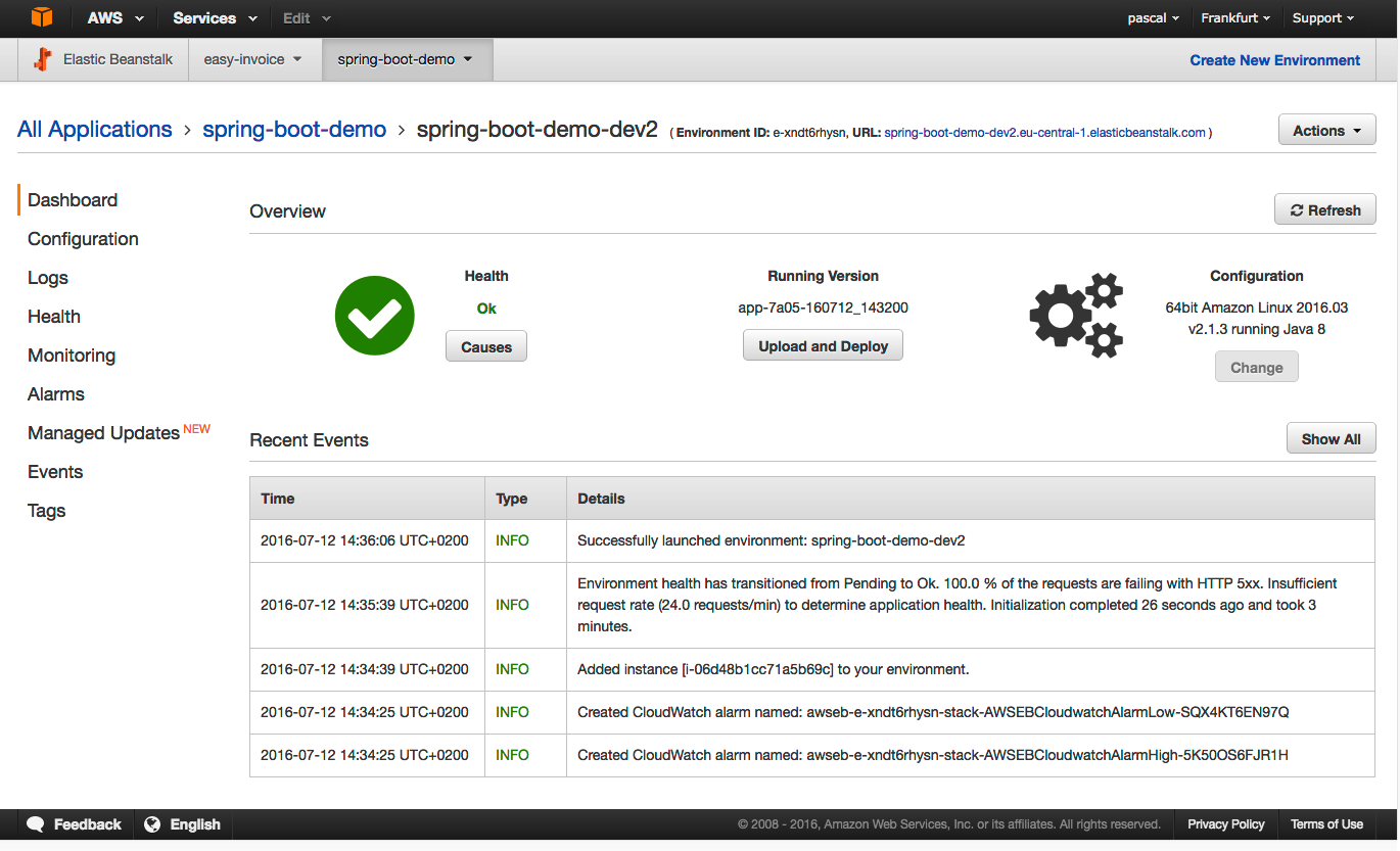 Run your Spring Boot application on AWS using Elastic